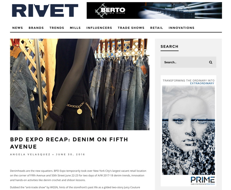 "Global Denim/Global Prime Featured on Rivet´s ""BPD EXPO RECAP: DENIM ON FIFTH AVENUE"" Article."