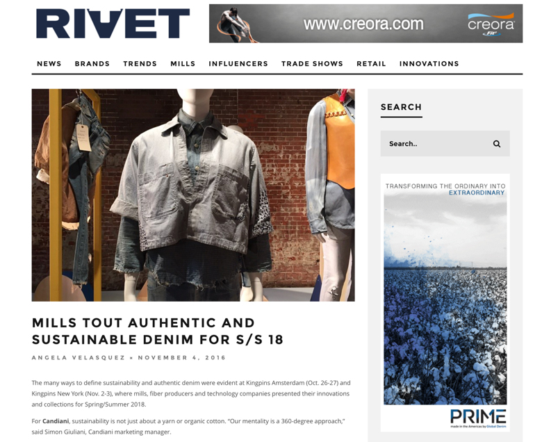 """Global Denim Featured on Rivet´s """"MILLS TOUT AUTHENTIC AND SUSTAINABLE DENIM FOR S/S 18"""" Article."""