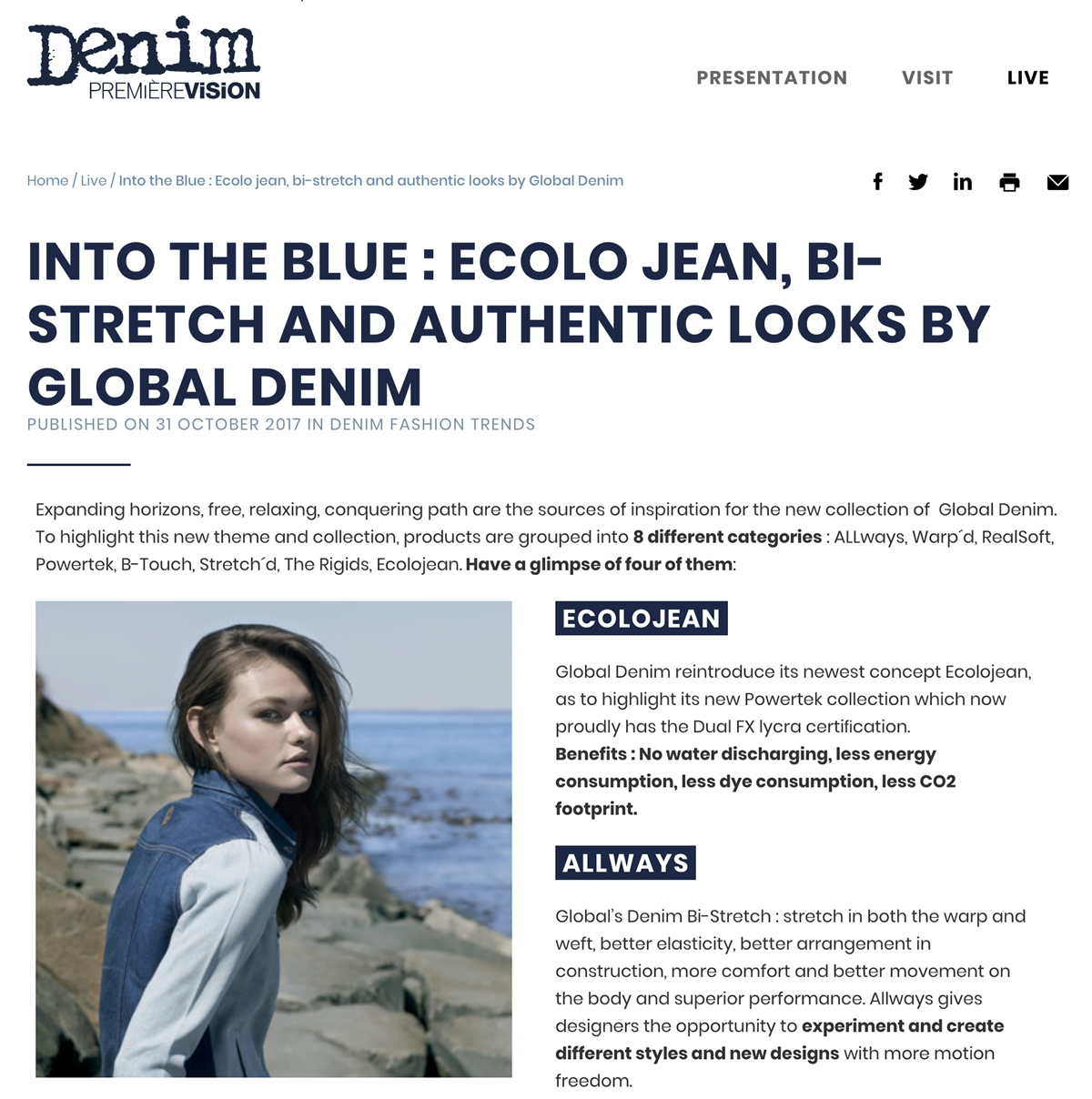 Global Denim® Destacado en el website de Denim PV