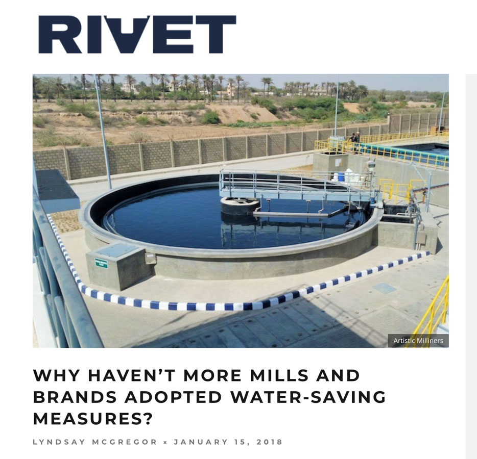 "Global Denim Showcased on Rivets ""Why haven't more mills and bands adopted water-saving measures?"" article"