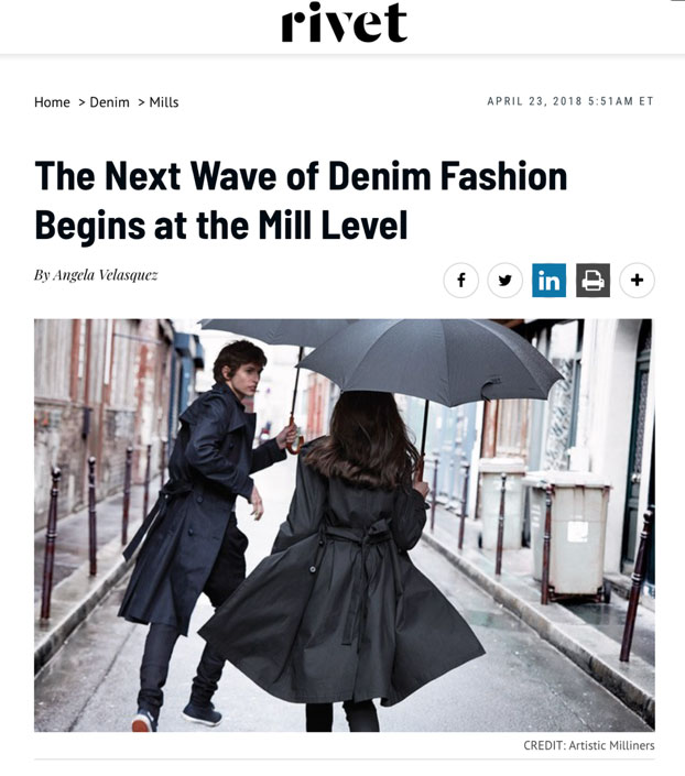 "Global Denim Showcased in Kingpins Amsterdam post show report on Rivet Magazine website titled ""The next wave of denim fashion begins at the Mill level"""
